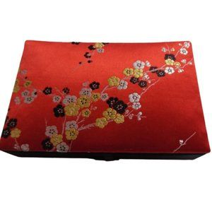 ⭐Cherry Blossom Jewelry Box Small Red Satin Floral